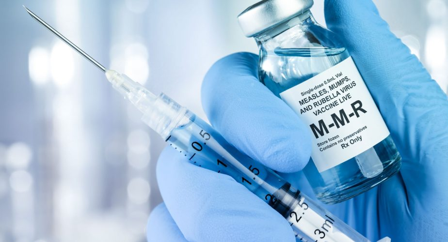 MMR vaccine bottle with injection needle