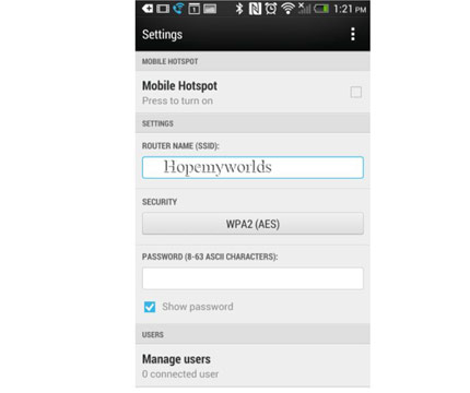 Setup Free WiFi hotspot on HTC Desire 650