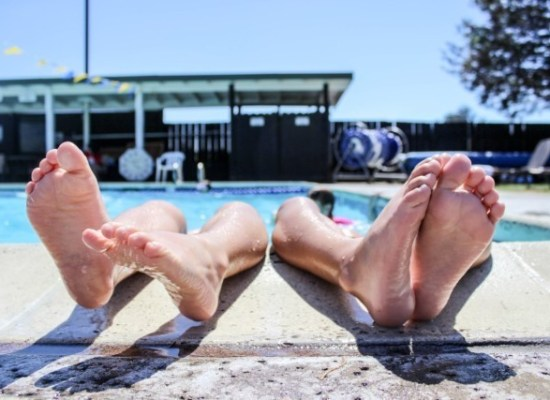 Feet out of pool