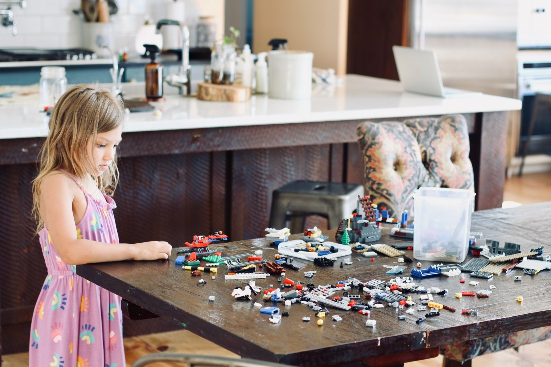 girl with legos