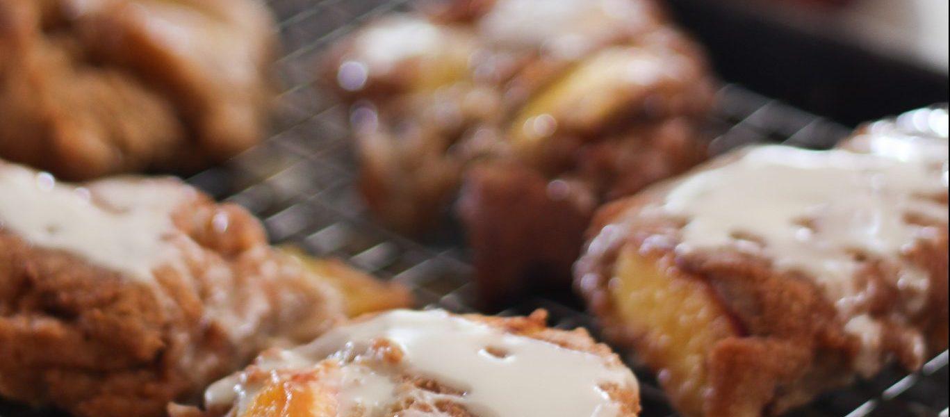 Einkorn Peach Fritters with Bourbon Maple Glaze
