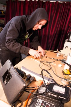 Daeve Fellows cutting LED strips to size