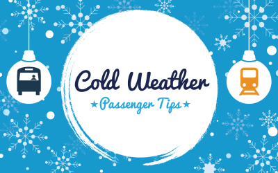"Blue snowy graphic background. Text in middle reads ""Cold Weather passenger Tips"""