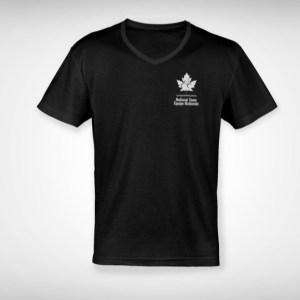 black v-neck shirt