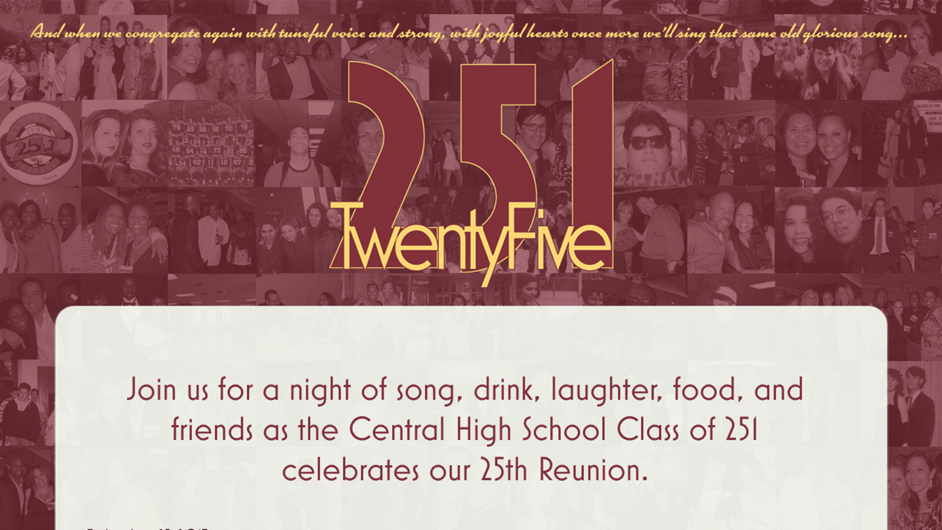Hoppel Design website for Central High School Class of 251 Twenty-Fifth Reunion