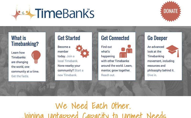 TimeBanks USA website, designed by Hoppel Design