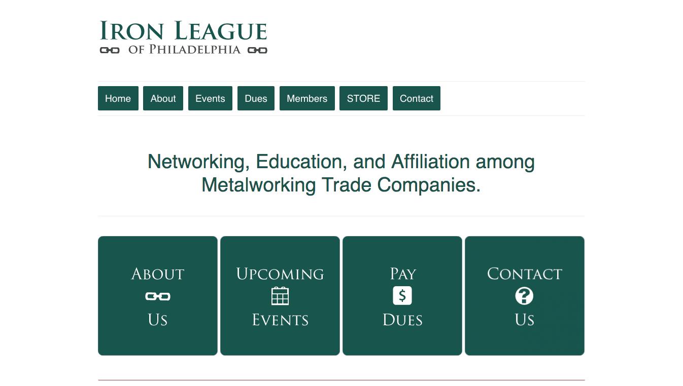 Hoppel Design website for the Iron League of Philadelphia