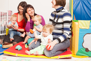 Group of mothers at a daycare talking