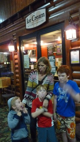 Enjoy some coffee, ice cream and more in front of the fireplace at the Breezy Point Resort Ice Cream & Coffee House. Here's our silly face shot outside the Breezy Point Resort Coffee House