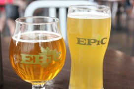 Left: Brainless Belgian-Style Golden Ale, Right: Belgian Wit Beer