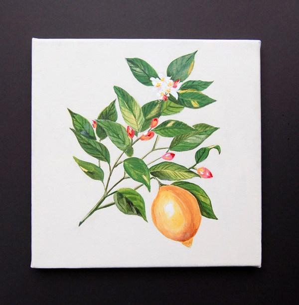 LemonBotanicalArtAcrylic
