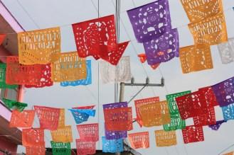 Christmas decorations in the street, Xochimilco, Barrio La Santisima