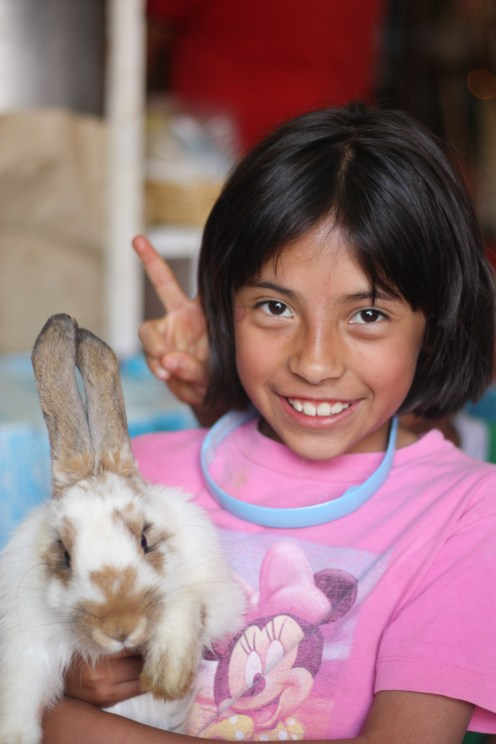 Girl and her rabbit in Xochimilco Market