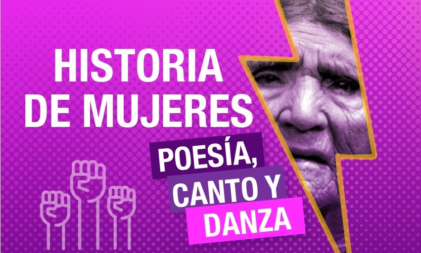 Afiche promocional del evento 'Historia de mujeres'.