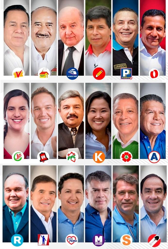 Dieciocho candidatos aspiran a convertirse en el próximo presidente del Perú.