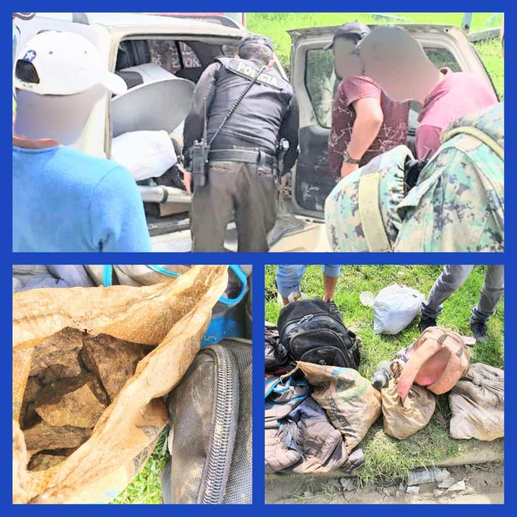 En un automóvil se transportaba el supuesto material minero.