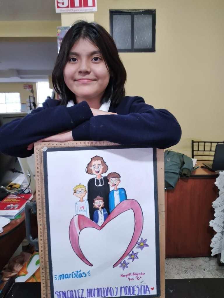 Nayeli Berenice Ágreda Saraguro, alumna de octavo año, paralelo D, el día de la premiación.