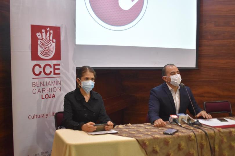 Jeannet Coronel y Diego Naranjo Hidalgo, durante la rueda de prensa de ayer, detallaron aspectos del evento cultural.