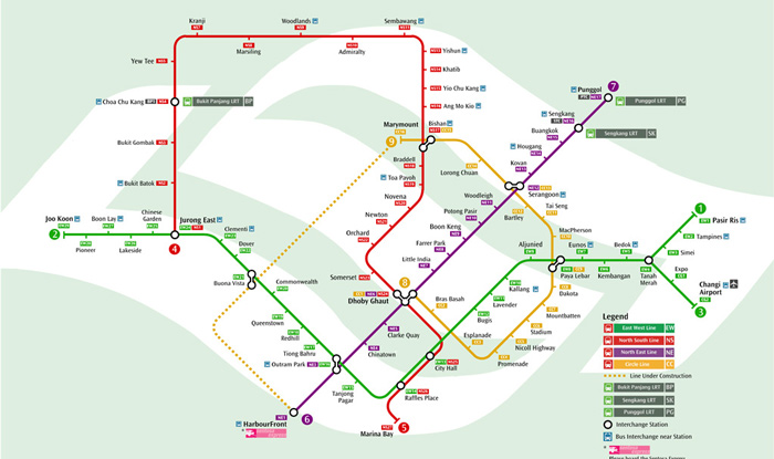 viaje a Singapur mapa metropolitano