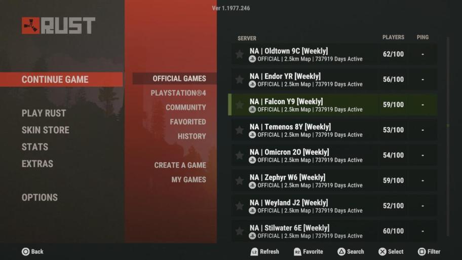 Servidor NA de Rust Console Edition