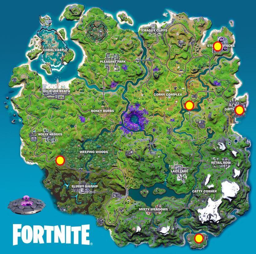 Ubicación del mapa OVNI de Fortnite