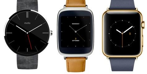 Moto 360, Asus ZenWatch, Apple watch