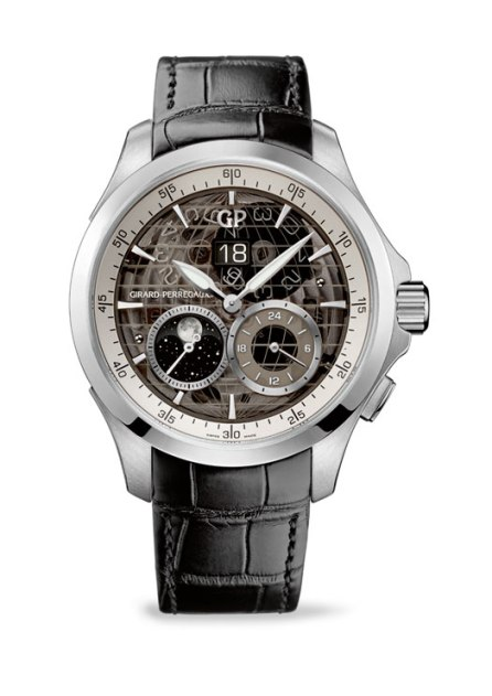 Girard-Perregaux Traveller Large Date Moonphase and GMT acero