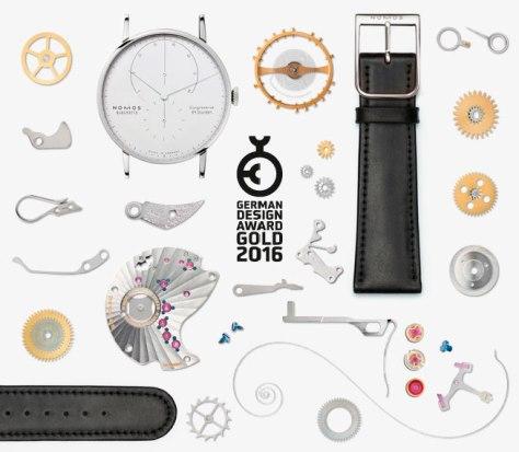 Nomos Lambda Oro Blanco premio German Design Award