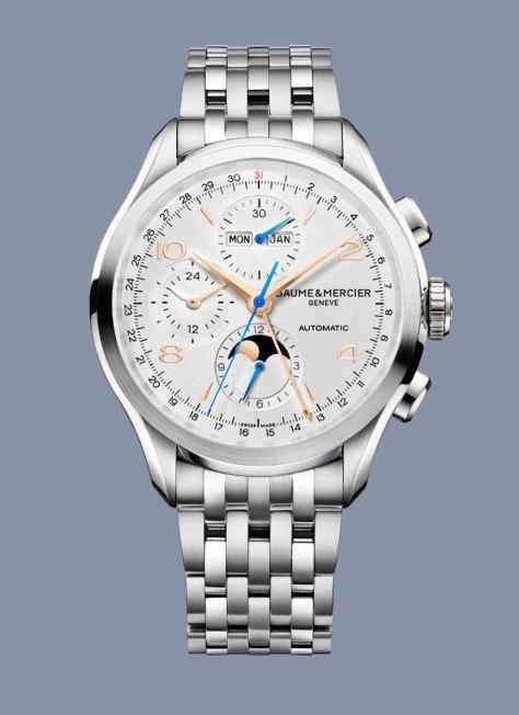 SIHH-2016-Baume-Mercier-Clifton-Chronograph-Complete-Calendar-brazalete-Horas-y-Minutos