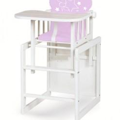 Klups AGA etetőszék - fehér / pink maci csilaggal