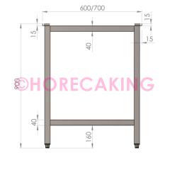 Rvs tafelonderstel zonder bodemschap 1000x700x900 mm