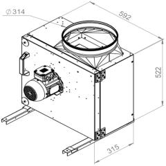 Ruck Rookgas Ventilatorbox 200°C | 3350 m³/h | MPS 280 D2 F4 30
