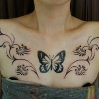 蝶のトライバル タトゥー画像