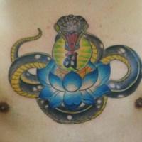 蛇と蓮のタトゥー画像