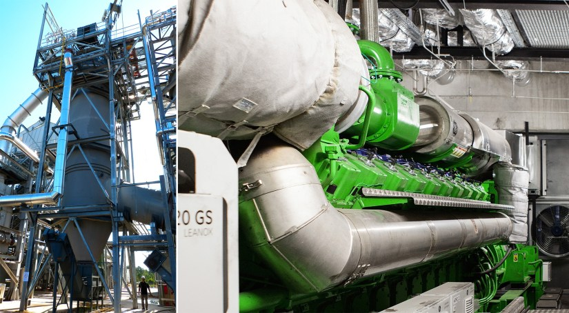 The gas produced by CHO Power's gasification process is refined at 1,200°C in their turboplasma facility (left) so that it can be used in a gas engine (right) to generate electricity. Credit - CHO Power