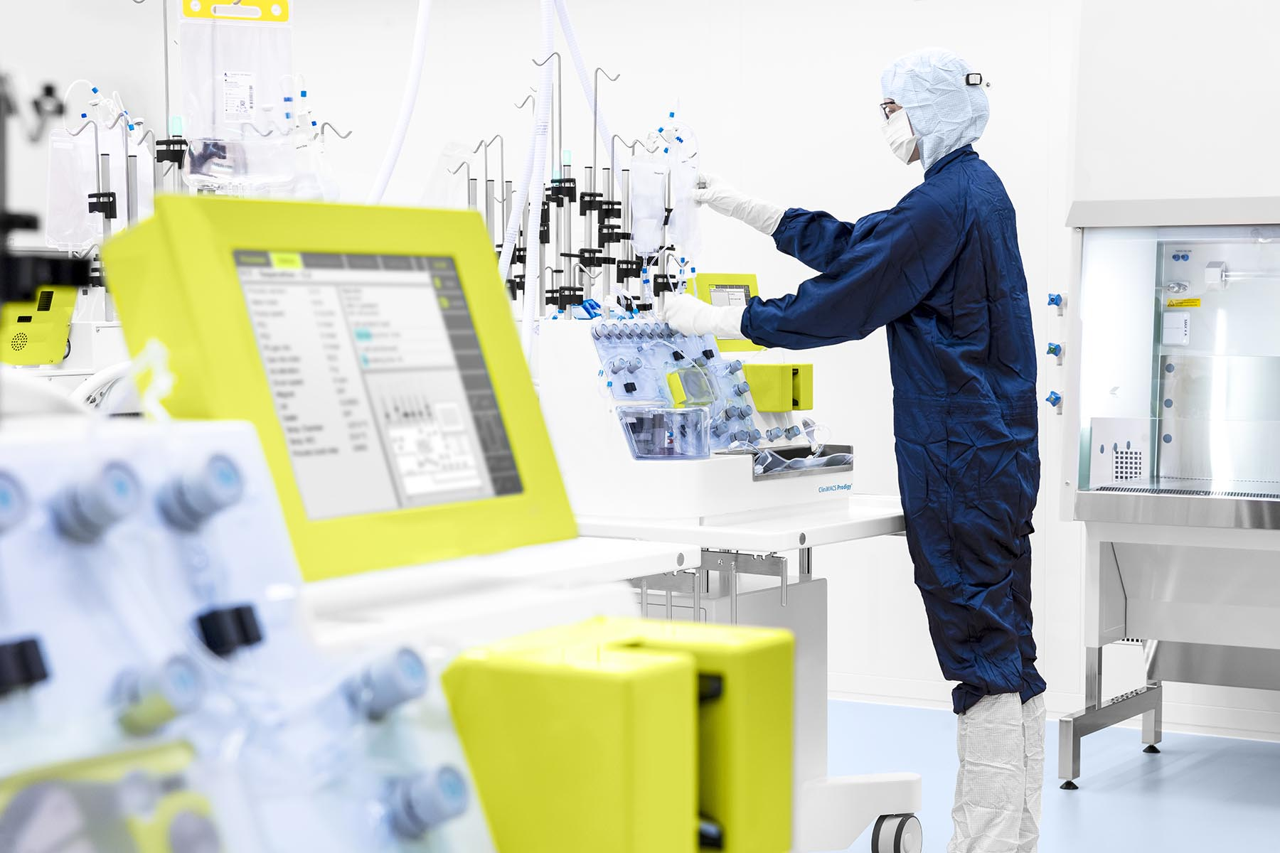 The CliniMACS Cell Factory at Miltenyi Biotec's facilities in Germany automates the production of cell therapy for patients with blood cancer.