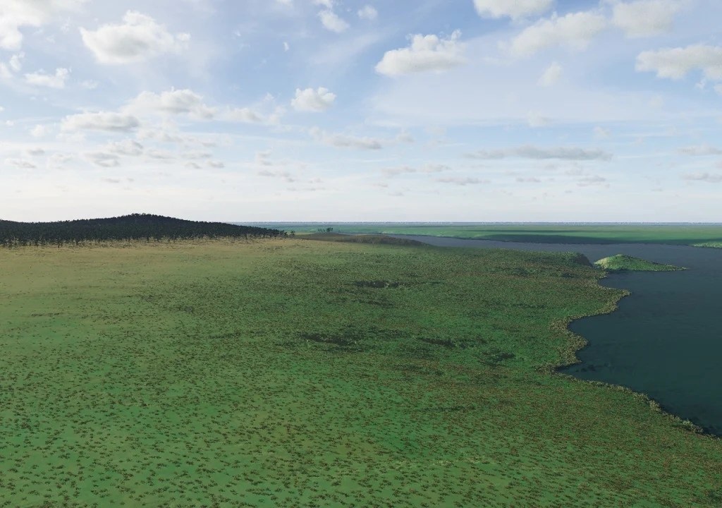 Before it was lost to the bottom of sea, Doggerland was made up of woodland, meadows, marshes and rivers, as shown by simulations.