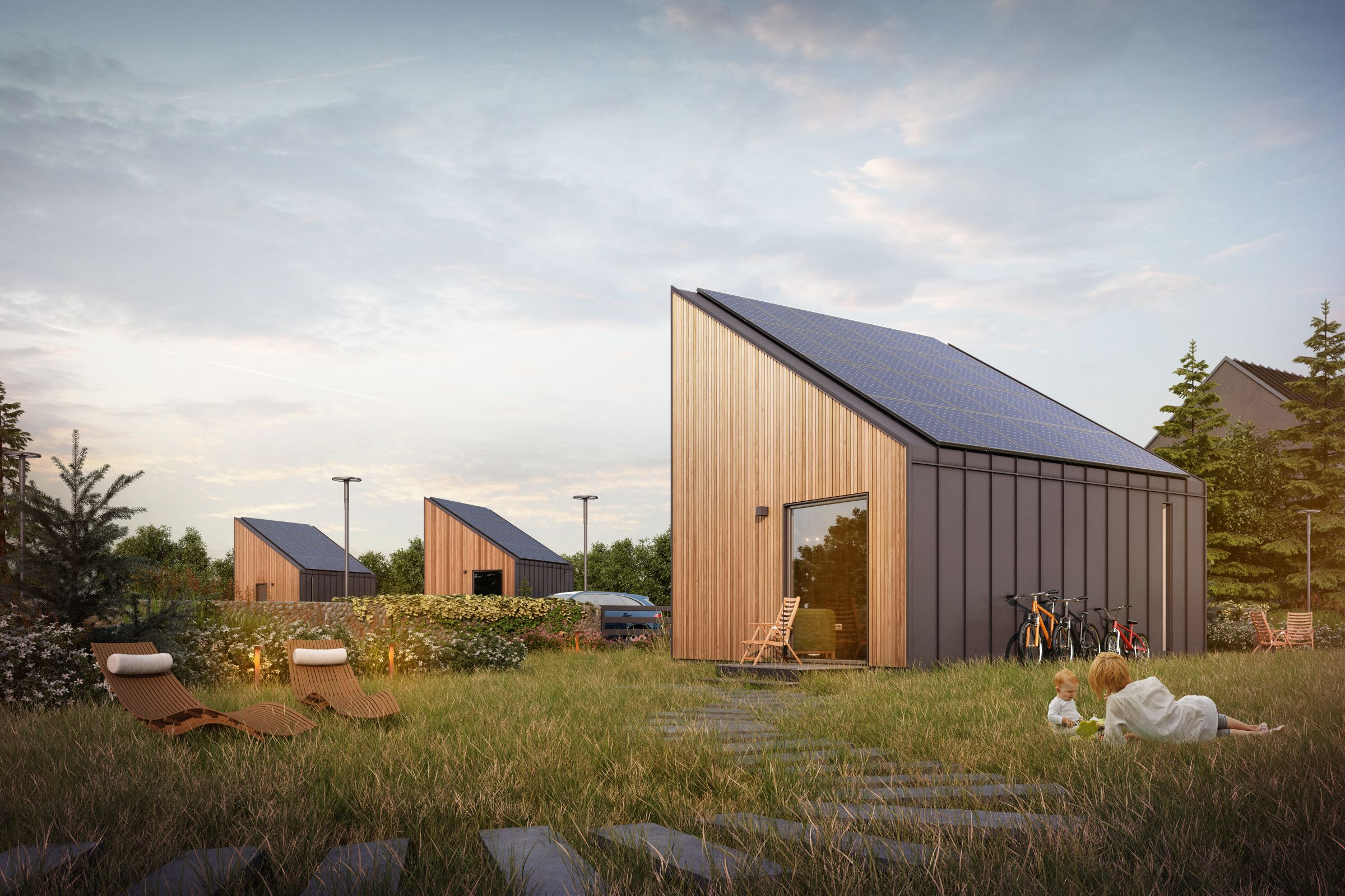 Solar panels help the SOLACE flat-pack houses produce more energy than needed.