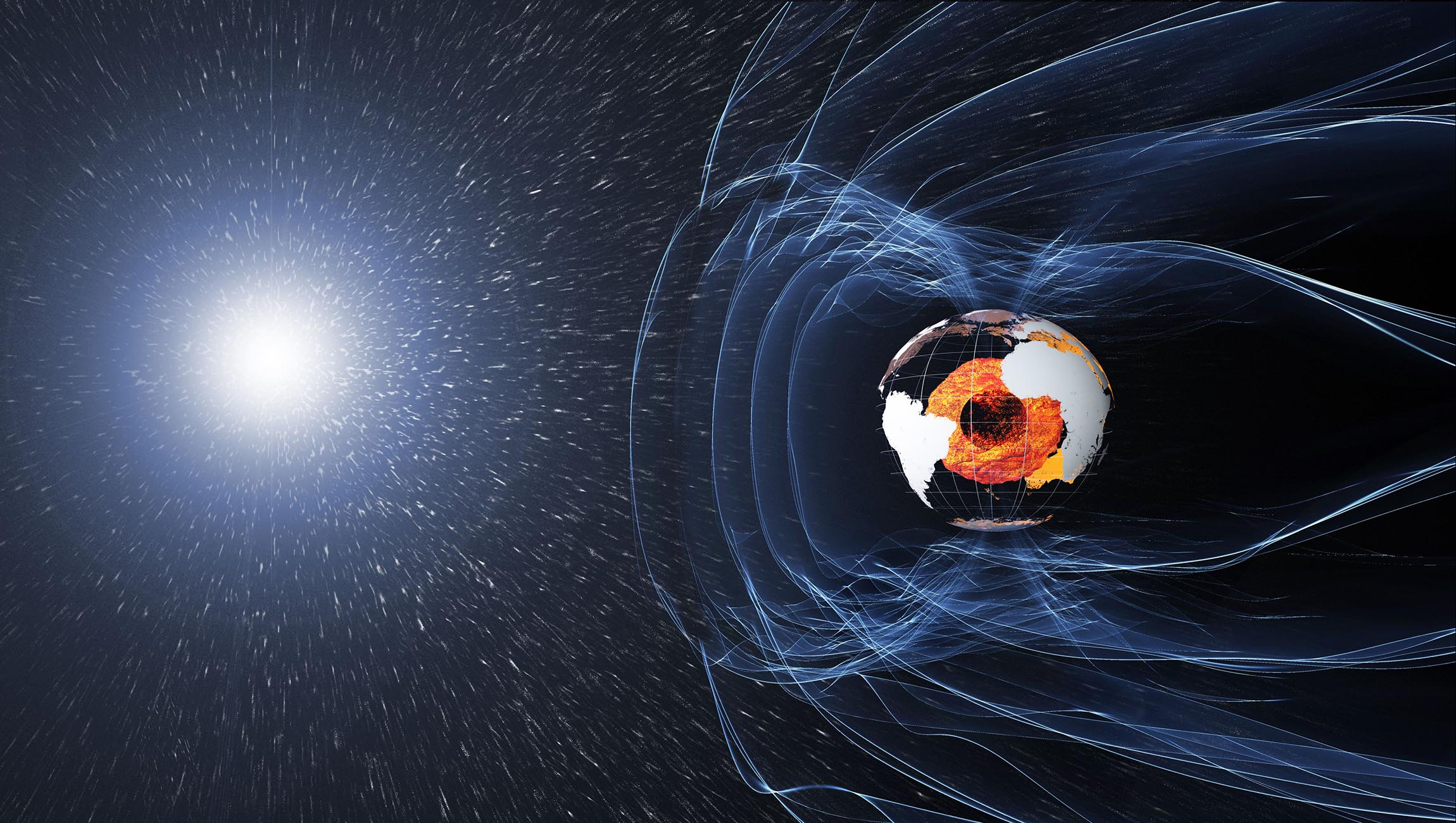 The magnetic field protecting our planet originates deep in the Earth's core but fluctuates in strength over time.