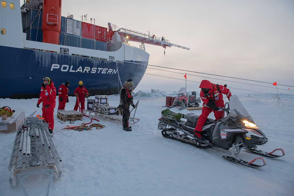 The Polarstern is currently drifting in Arctic ice as part of a year-long research expedition to study climate change up close. Image credit - Alfred-Wegener-Institut / Esther Horvath, licenced under CC-BY 4.0