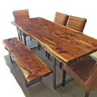 Live Edge Dining Table and Matching Bench - Horizon Home ...