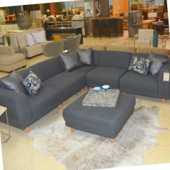 Gray Sofa Sectional Washing Velour Covers Five Piece Grey And Ottoman Horizon Home Furniture