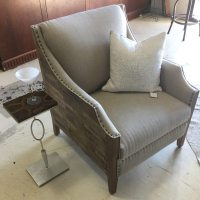 Unique Upholstered Rustic Chic Wood Sided Chair