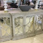 White Mirrored Cabinet With Circles Horizon Home Furniture