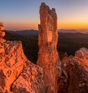 Hoodoos at sunset on the Markagunt Plateau near Bryce Canyon and Zion National Park.