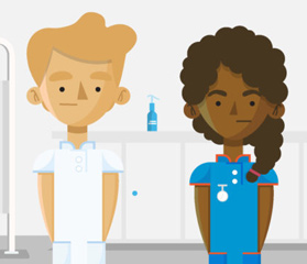 Cartoon of two NHS workers from NHS People Plan website