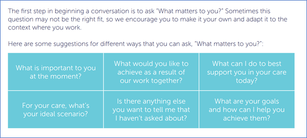 """Table with ideas for different ways of asking the question """"what matters to you"""""""
