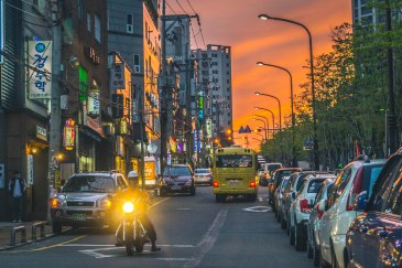 The sunset on the street next to our apartment in Donggu, Ulsan.