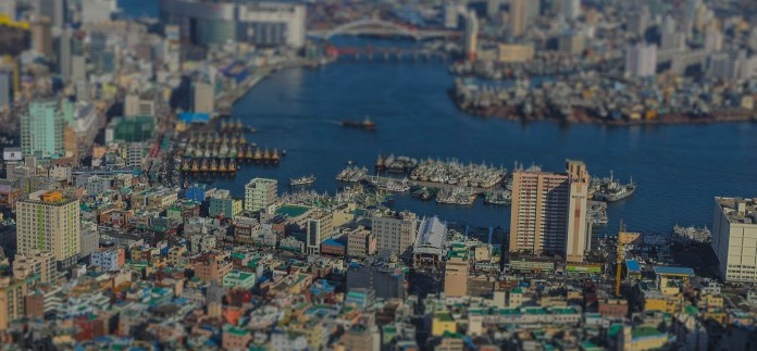 From the mountain top over Gamcheon Culture Village looking down at the downtown area of Busan.