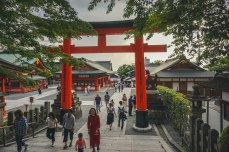 Looking back toward the street through one of the many torii gates.